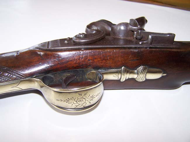 click to view larger image of A fine English brass barreled flintlock Blunderbuss with spring bayonet circa 1813-1815